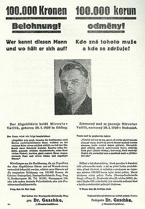 Josef Valčík - Reward poster for Josef Valčík, one of the assassins of  Heydrich.