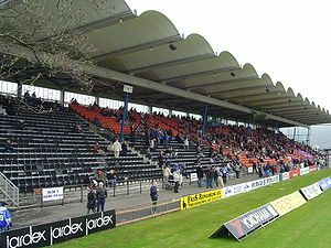 Valby Idrætspark - Image: Valby Idrætspark main stand Boldklubben Frem vs Fremad Amager