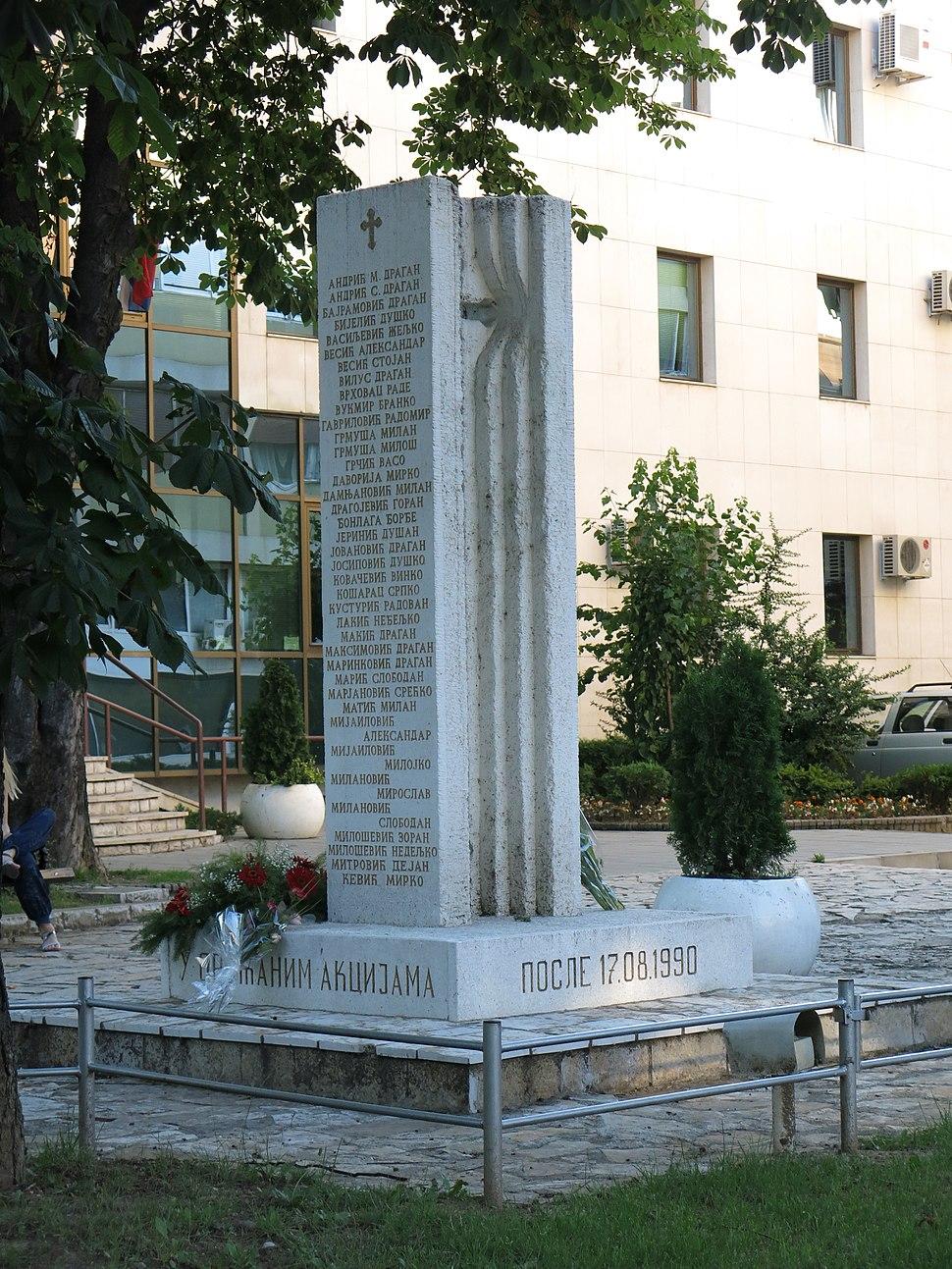 Valjevo, Spomenik palim borcima, 01