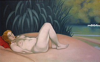 Nude woman sleeping at the water's edge
