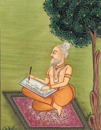 Ramayana - An artist's impression of Valmiki Muni composing the Ramayana