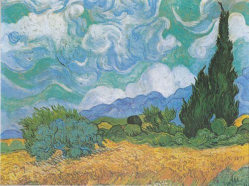 Van Gogh - Weizenfeld mit Zypressen3