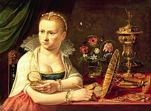 Clara Peeters - Vanitas painting by Clara Peeters, ca. 1610. The woman in the painting is probably Clara Peeters