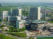 UN complex in Vienna, with the Austria Center Vienna in front, taken from Danube Tower in the nearby Donaupark before the extensive building work