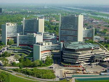 UN complex in Vienna, with the Austria Center Vienna in front, taken from the Danube Tower in the nearby Donaupark before the extensive building work Vereinte Nationen in Wien.jpg