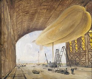 Neville Usborne - H.M.A.3 in the shed at Kingsnorth, painted by his father-in-law Vereker Hamilton