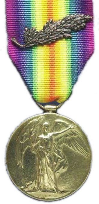 Mentioned in dispatches - A Victory Medal 1914–18 with Mention in Despatches (British) oak leaf spray
