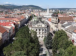 View over Old Town from St. Elisabeth Cathedral Bell Tower - Kosice - Slovakia (36428414991).jpg