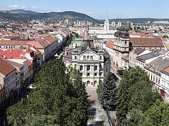 Košice - View of Hlavná ulica (Main Street) from St. Elisabeth Cathedral, with the State Theatre Košice building in the center