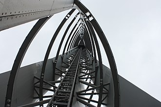 Glasgow Tower - View up the centre of the Glasgow Tower from base of lift