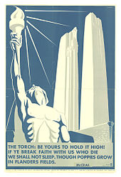 A white skeleton body holds alight a torch and the background the two white pillars of the Vimy memorial are displayed. the entire poster is displayed in white with a background of blue.