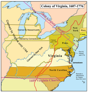 William Claiborne - Map of the Virginia colony showing its location relative to the proprietary colony, Province of Maryland controlled by Lord Baltimores of the Calvert family.