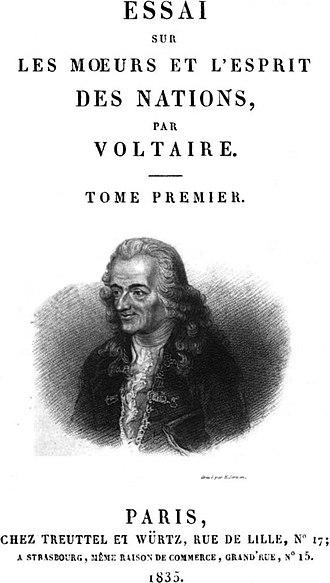 Essai sur les mœurs et l'esprit des nations - Title page of an 1835 edition with a portrait of the author