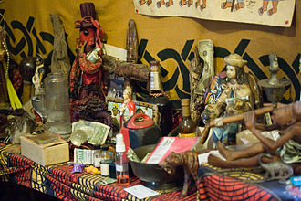 Afro-American religion - Example of Louisiana Voodoo altar inside a temple in New Orleans.
