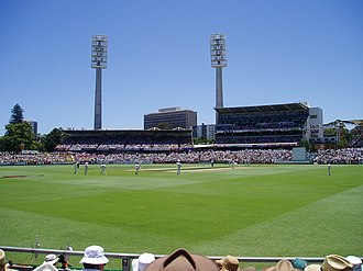 WACA Ground - The WACA facing north, showing the Inverarity Stand (left) and the Prindiville Stand (right)