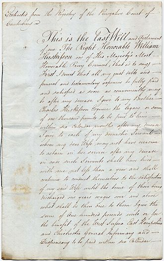 William Huskisson - Page 1 of the last will of William Huskisson