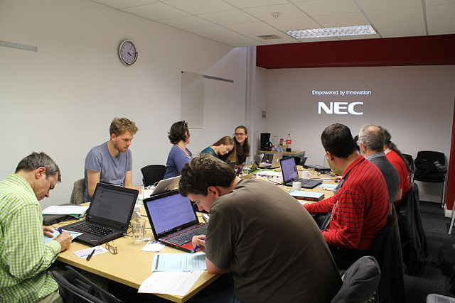 Room full of participants at the Wikimedia UK Wikidata Training session