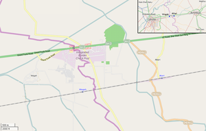 OSM map showing Wagah and Attari, their railway stations, and the Wagah border crossing. In the upper corner is shown the position of the villages between the cities of Lahore and Amritsar (click to expand)