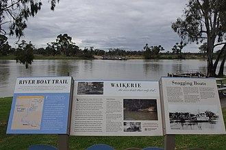 Waikerie, South Australia - Information sign, overlooking where the ferry crosses the river