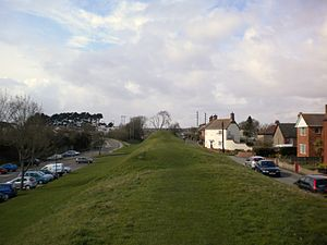 "Wareham, Dorset - ""Bloody Bank"" is the high point in the distance, on West Walls"