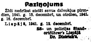 Liepāja massacres - Nazi police warning to the Jews of Liepāja to remain in their houses on December 15 and 16, 1941, in German and Latvian languages.