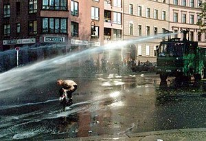 Non-lethal weapon - Water cannon during a German demonstration, 2001