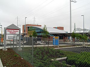 West Haven station - The nearly complete station in May 2013