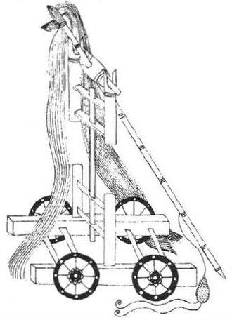 Trebuchet - Wheeled whirlwind traction trebuchet from the Wujing Zongyao.
