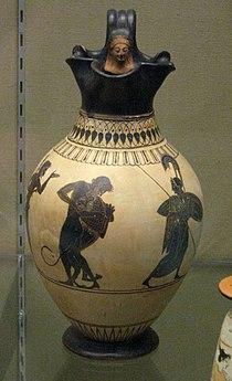 White-Ground Oinochoe (Wine-Jug) of Herakles and the Nemean Lion.jpg