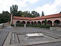 White marble cross. Medieval Ruin Garden - National Memorial. Listed ID 3842. - Koronázó Square, Belváros, Székesfehérvár, Fejér county, Hungary.JPG
