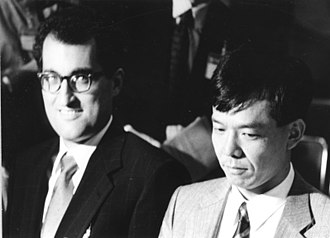 Edward Witten - Edward Witten (left) with mathematician Shigefumi Mori, probably at the ICM in 1990 where they received the Fields Medal.