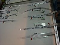 Wikimania 2015-Thursday-Stickers and wristbands for participants.jpg
