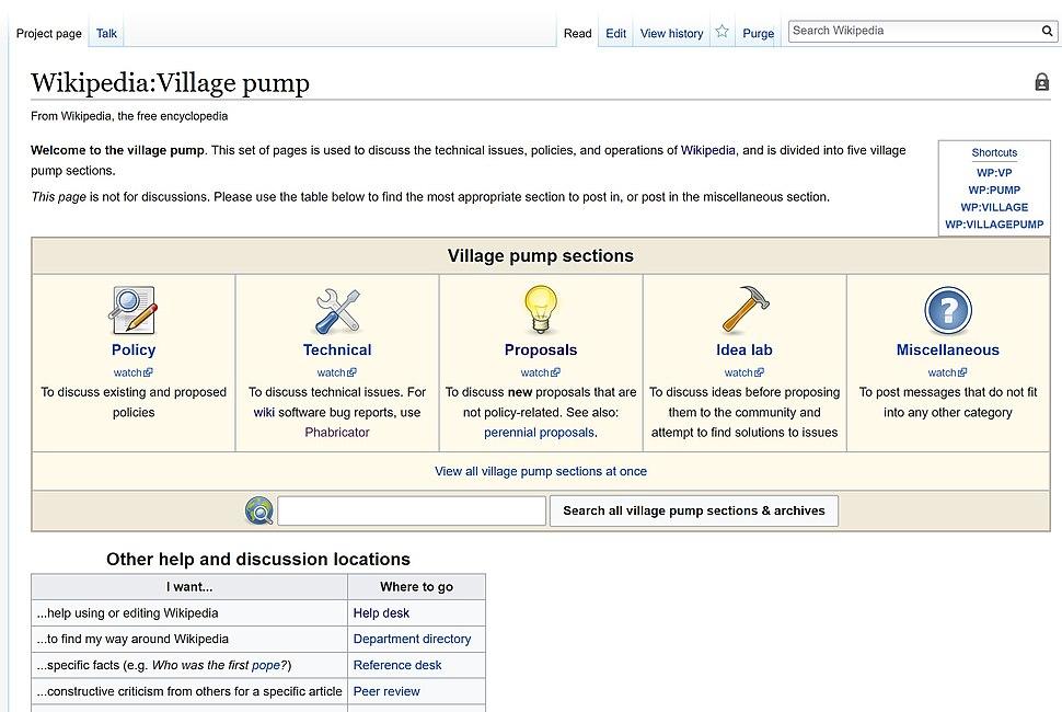 Wikipedia Village Pump