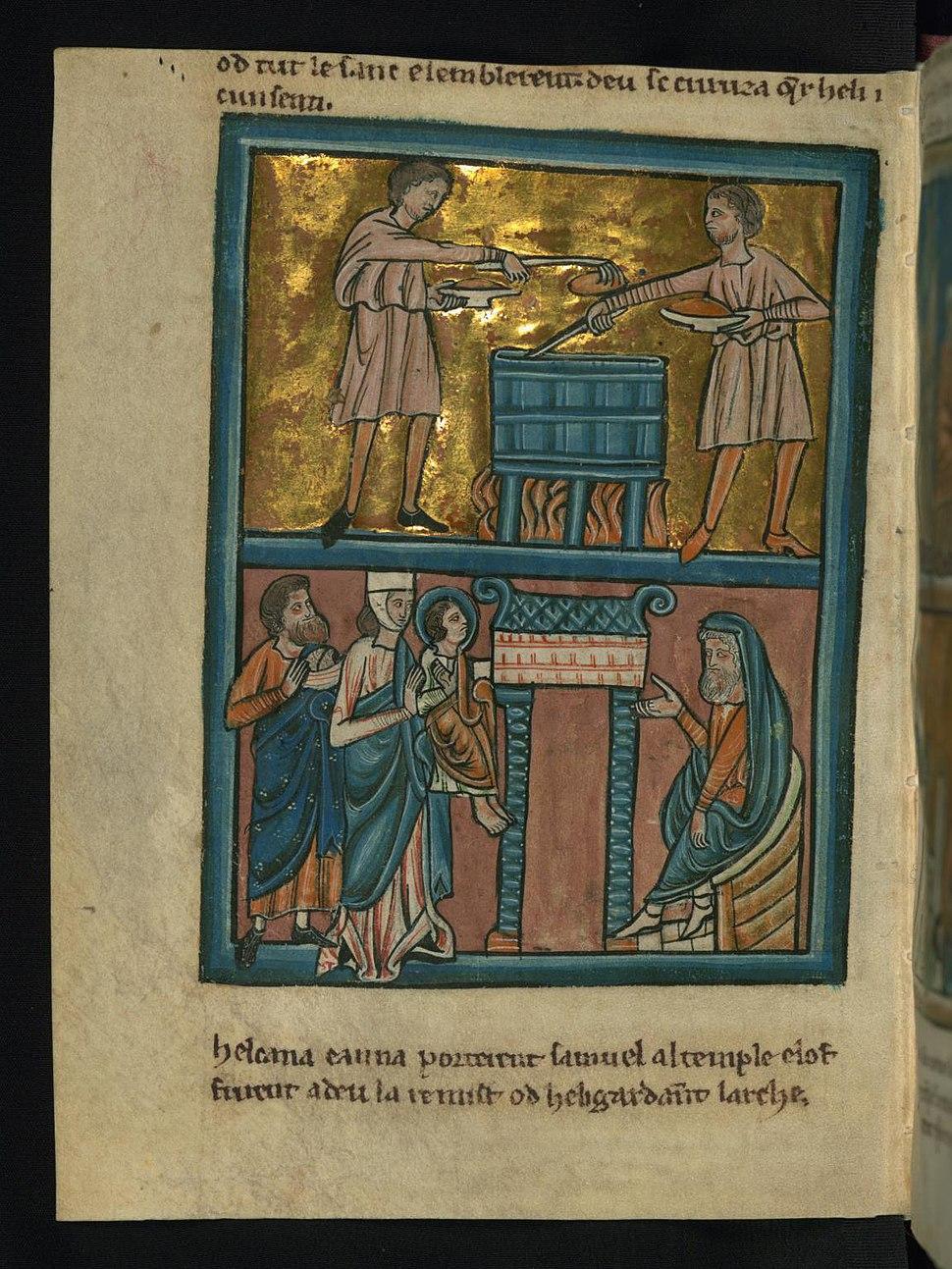 William de Brailes - Top - Eli's Sons Commit Sacrilege (1 Samuel 2 -13-17) - Walters W10617V - Full Page