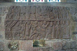 Wirksworth - Wirksworth Stone in St Mary's Church, an early stone carving depicting scenes from the life of Christ