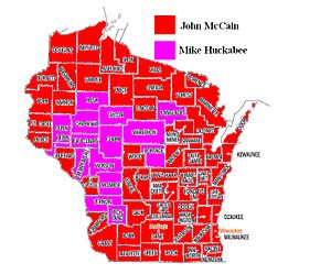 Wisconsin Primary Results, Republican primary, 2008.jpg