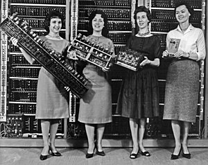 History of computing hardware - Parts from four early computers, 1962. From left to right:  ENIAC board, EDVAC board, ORDVAC board, and BRLESC-I board, showing the trend toward miniaturization.