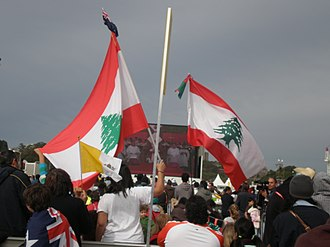 Lebanese flags at the 2008 World Youth Day in Sydney. Sydney is also home to the nation's largest population of Lebanese Australians World Youth Day 2008 - Sydney, Australia.jpg