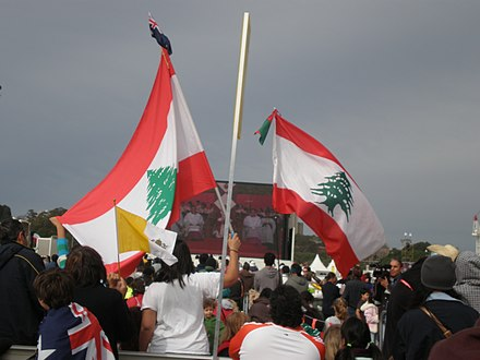 Lebanese wave their country's flag at the 2008 World Youth Day World Youth Day 2008 - Sydney, Australia.jpg