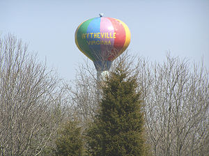 Wytheville, Virginia - Wytheville's hot air balloon-themed water tower, inspired by the town's yearly Chautauqua Festival balloon launches, can be seen by I-81 travellers near the I-77 interchange.