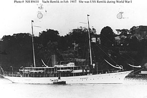 USS Remlik (SP-157) - Remlik in February 1907 as a private yacht.