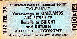 Oaklands railway line, Victoria - Yarrawonga-Oaklands rail ticket 1978