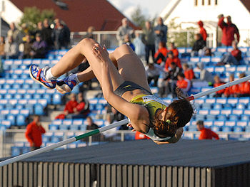 A high jump being performed by Yelena Slesaren...