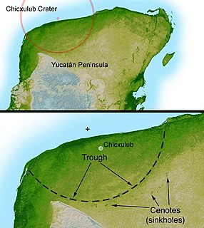 Chicxulub crater prehistoric impact crater buried underneath the Yucatán Peninsula in Mexico