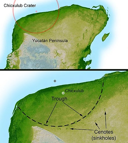 Location in the Yucatan peninsula of the Chicxulub crater. The scientific consensus is that the Chicxulub impactor was responsible for the Cretaceous-Paleogene extinction event. Yucatan chix crater.jpg