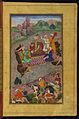 Zahir al-Din Muhammad Babur - Babur Riding a Raft from Kunar Back to Atar - Walters W59617B - Full Page.jpg