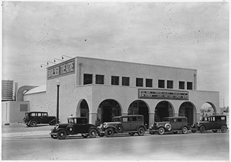 """Boulder City Historic District - Image: """"Moving picture theater operated under permit at Boulder City, Nevada."""" NARA 293717"""