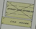"""STREET CAR STABLES"" and ""CAR HOUSE"" 1884 MAP DETAIL, Sanborn Fire Insurance Map from Detroit, Wayne County, Michigan. LOC sanborn03985 001-37 (cropped).jpg"