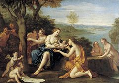 'Birth of Adonis', oil on copper painting by Marcantonio Franceschini, c. 1685-90, Staatliche Kunstsammlungen, Dresden.jpg