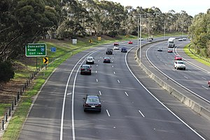 "Eastern Freeway (Melbourne) - ""Bulleen Bend"" on Eastern Freeway in Balwyn North."